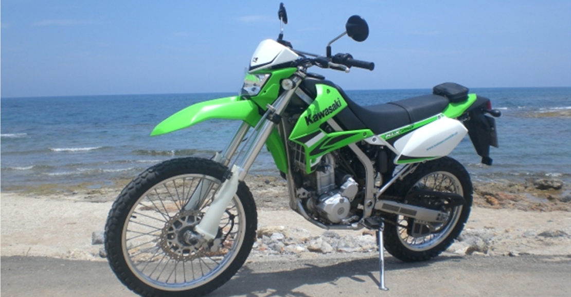 kawasaki klx 250cc welcome rent a bike in crete greece airport port. Black Bedroom Furniture Sets. Home Design Ideas